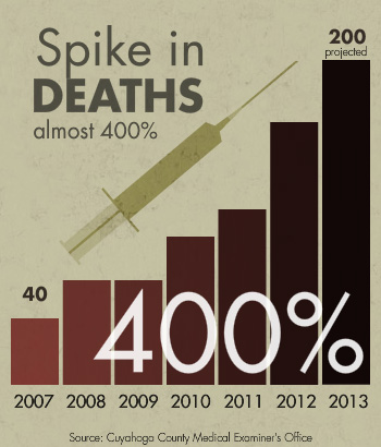 Spike in deaths. Deaths have risen almost 400% from 2007 to 2013.